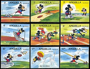 Anguilla 559-567, MNH, Disney Los Angeles Olympics, Mickey Mouse Decathlete