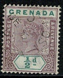 GRENADA QV 1895-99 1/2d MAUVE & GREEN VFU SG48 Wmk.CrCA P.14 VGC