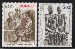 Monaco 1988 Modern Art Paintings set Sc# 1646-47 NH