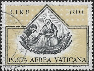 Vatican City Air Post Stamp - Scott #C56/AP17 300 l Black & Bister Canc/LH 1971