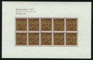 Denmark.  Christmas Seal Souvenir Sheet 1917/81 Reprint. Mnh.