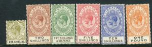 GIBRALTAR-1925-32  A lightly mounted mint set to £1 Sg 102-107