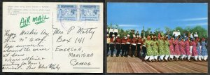 798 - JORDAN 1967 Pair of 25f Telecom Union on Airmail Postcard to CANADA