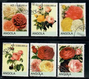 Angola Used Flowers / Roses complete set CTO