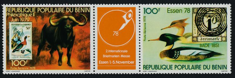 Benin C286a MNH Stamp on Stamp, Bird, Animals, Philexafrique II