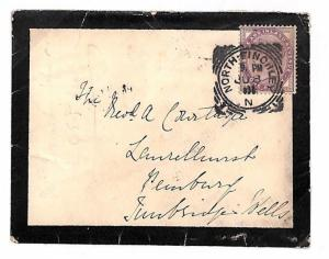 K240 1901 GB London *NORTH FINCHLEY/N* Squared Circle Penny Lilac Mourning Cover