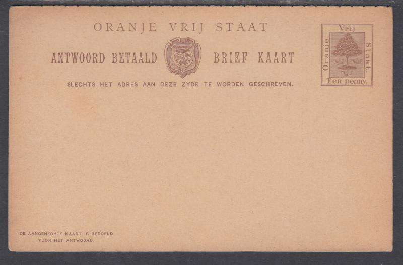 Orange Free State H&G 19 mint 1898 1p + 1p Postal Reply Double Card, perf 7