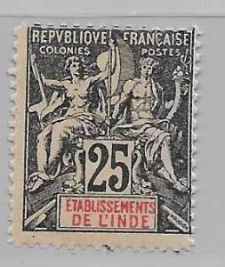 French India 10 Navigation & Commerce single FOURNIER FORGERY FOR REFERENCE