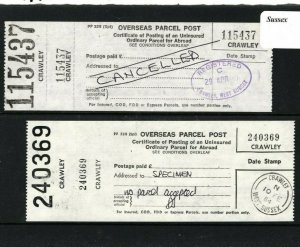 GB Sussex *Crawley* OVERSEAS PARCEL POST LABEL Unused Specimens{2} 1984 AA150
