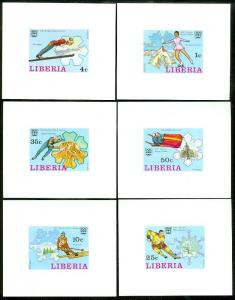 EDW1949SELL : LIBERIA 1976 Scott #727-32 Olympics Complete set of Deluxe Sheets.
