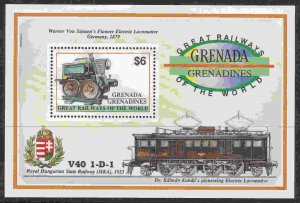 Grenada-Grenadines #1382A s/sheet F-VF Mint NH ** First Electric Locomotive