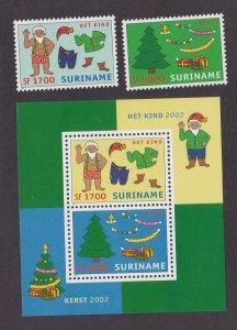 Suriname # 1286-1287 & 1288, Christmas Scenes, Souvenir Sheet, NH 1/2 Cat