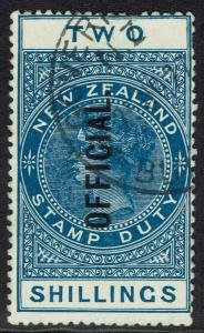 NEW ZEALAND 1907 OFFICIAL QV 2/- USED
