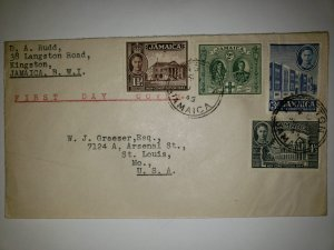 G)1945 JAMAICA, COURTHOUSE, FALMOUTH-KINGS GEORGE II & GEORGE VI, INSTITUTE OF J