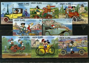 UNION ISLAND 1989 DISNEY FRENCH VEHICLES SET OF 8 STAMPS MNH