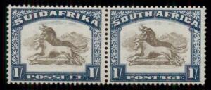 SOUTH AFRICA #43 1sh blue & yellow brown, pair, og, VLH, VF, Scott $140.00