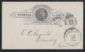 United States, SC UX9, used, 1889 Hamburgh, Conn. cancel