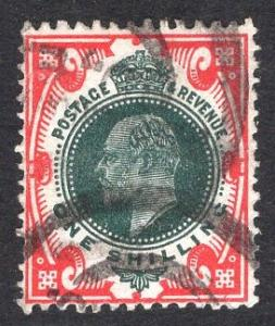 Great Britain  #138a  1902  used Edward VII  1s dark green and red