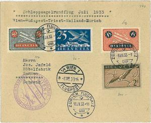 FIRST FLIGHT cover: LONGHI #3029 - SWITZERLAND Schweiz 1933 - only 108 covers!