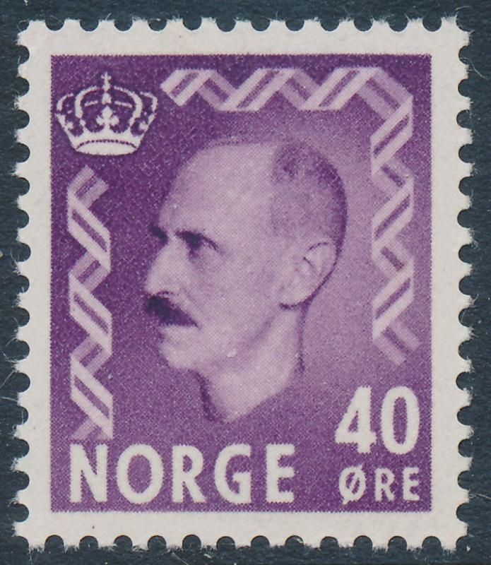 Norway Scott 347 (Facit 429), 40ø purple Haakon, VF Mint NH