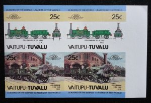Vaitupu - Tuvalu 1980s 25c IMPERF Trains, Leaders of the World Block of 4 MNH