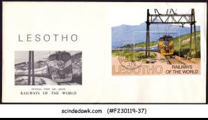 LESOTHO - 1984 RAILWAYS OF THE WORLD - M/S FDC
