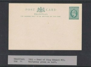 TRANSVAAL POSTAL STATIONARY 1902 1/2D GREEN UNUSED