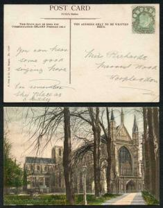 KEVII 1/2d Yellow-green on Postcard to Worplesdon cancelled with a Mail Bag Seal