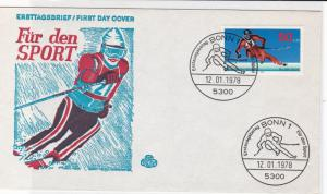 german 1978 skiing fdc stamps cover ref 20673