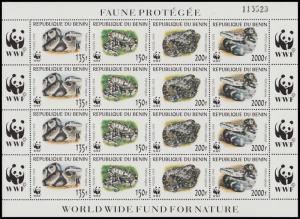 Benin WWF Pythons Sheetlet of 4 sets SG#1812-1815 MI#1159-1162 SC#1086 a-d