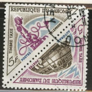 Dahomey Scott J39a used 1967 Postage due train pair
