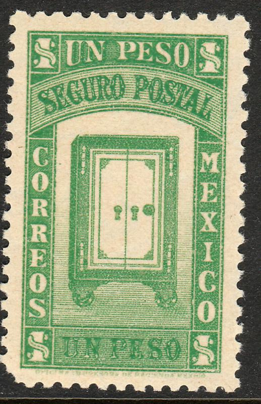 MEXICO G6, $1PESO INSURED LETTER. MINT, NH. F-VF