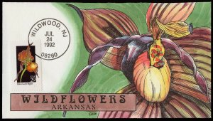 Collins Handpainted FDC Wildflowers: Arkansas Yellow Lady's Slipper (7/24/1992)
