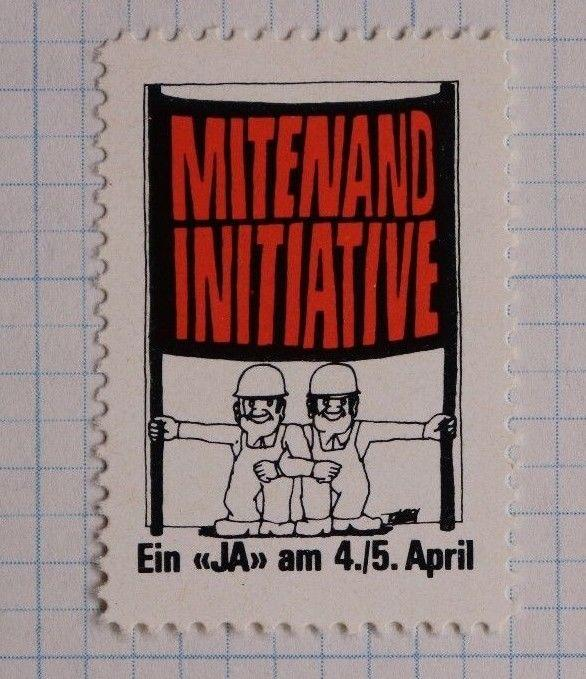 Swiss Mitenand Initiative foreign immigration policy refugee asylum 1974 MNH DL