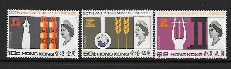 HONG KONG SG239/41 1966 20th ANNIV OF U.N.E.S.C.O. MTD MINT