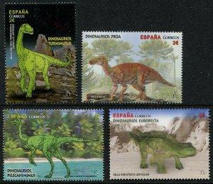 HERRICKSTAMP NEW ISSUES SPAIN Sc.# 4129-32 Dinosaurs 2016 Lenticular, 3D, Etc.