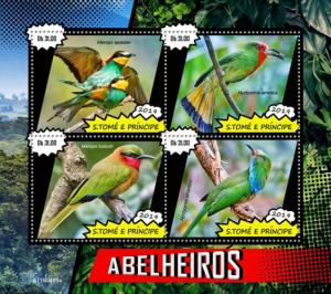 SAO TOME - 2019 - Bee-Eaters - Perf 4v Sheet - MNH