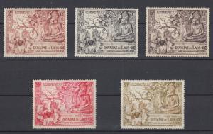 Laos 1956 Full Set Sc#27-29 + C20-21 Anniversary Buddhist Era  MNH Luxe.