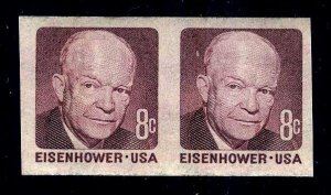 IMPERF PAIR - #1402a 8c Ike....XF og NH -start@99c  -- FREE SHIPPING