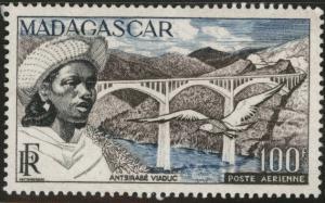 Madagascar Malagasy Scott C59 MNH** 1954 100fr Viaduct