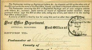 US REGISTRY BILL ALTAMONT, DAKOTA 10/05/1885 TO CHICAGO, IL 10/07/1985 AS SHOWN