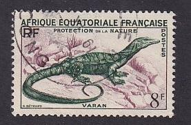French Equatorial Africa   #188  used 1955  Savannah monitor  varan