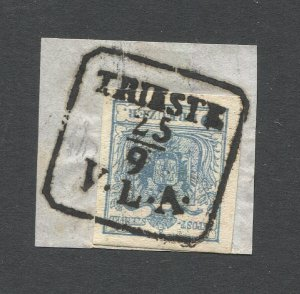 AUSTRIA 1850 Sc 5  9kr on piece, LLOYD Maritime, TRIESTE / V.L.A. cancel