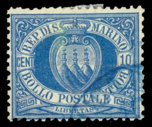 San Marino 1890 10c BLUE USED WITH BLUE CANCEL #7a shade variety CV$300.00 [1...
