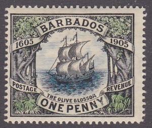Barbados # 109, Ship Olive Blossom Hinged, 1/3 Cat.
