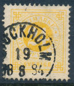 Sweden Scott 34/Facit 34k, 24ö orange-yellow Ringtyp p.13, F-VF Used