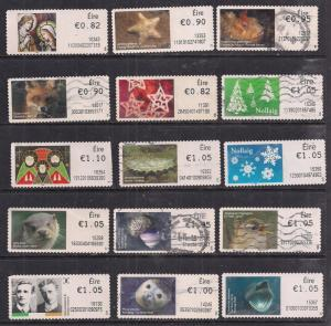 GB Ireland QE2 Selection of 15 Post and Go's used stamps- F1401