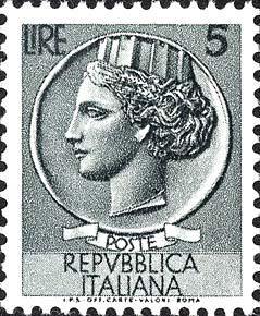 Italy 1955 SC #674 Siracusana 5L Italia after Syracusean Coin MINT OG.