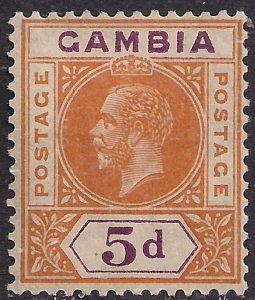 Gambia 1921 - 22 KGV 5d Orange & Purple MM SG 113 ( E511 )