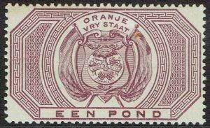 ORANGE FREE STATE 1882 ARMS POSTAL FISCAL 1 POUND MNH **